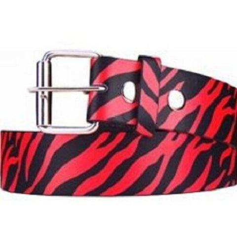 Zebra Stripes Printed Leather Belt Animal Removable Roller Buckle Unisex Womens