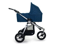 2020 Bumbleride Indie All Terrain Stroller with Era/ Indie/ Speed Bassinet in Maritime Blue Attached (fabric removed, optional). - Global