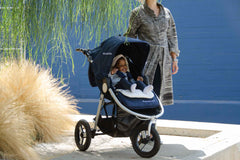 Organic Cotton Stroller Liner on Bumbleride Indie in Maritime Blue - Canada