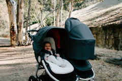 Organic Cotton Infant Insert on Bumbleride Indie Twin Double Stroller in Dawn Grey Coral - Canada