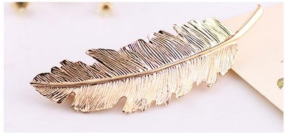 Barrette Plume Feuille Or ou Argent