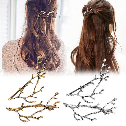 Lot de 2 Pinces à cheveux - Branches d'Or ou Argent