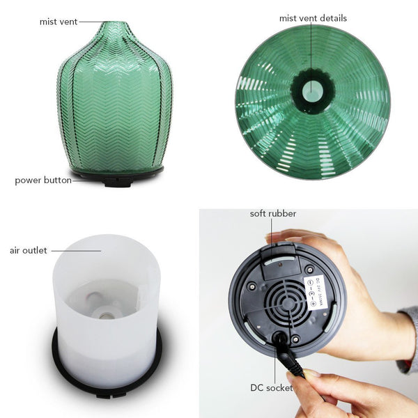 Mint Green Glass Ultrasonic Diffuser & Night Light