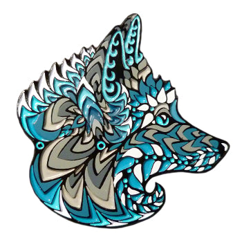 Blue Foxy Face Pin