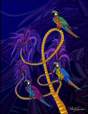 Parrots in a Palm Tree - Print