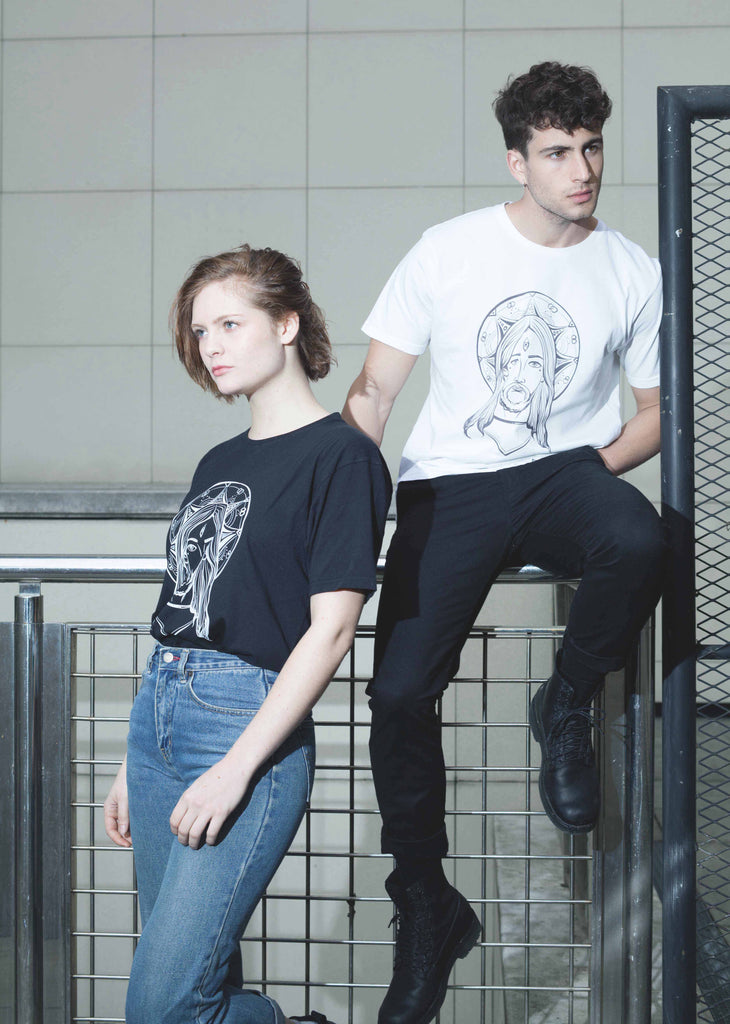 T-Shirt Unisex Blanc Noir 100% Coton organique - Third Eye