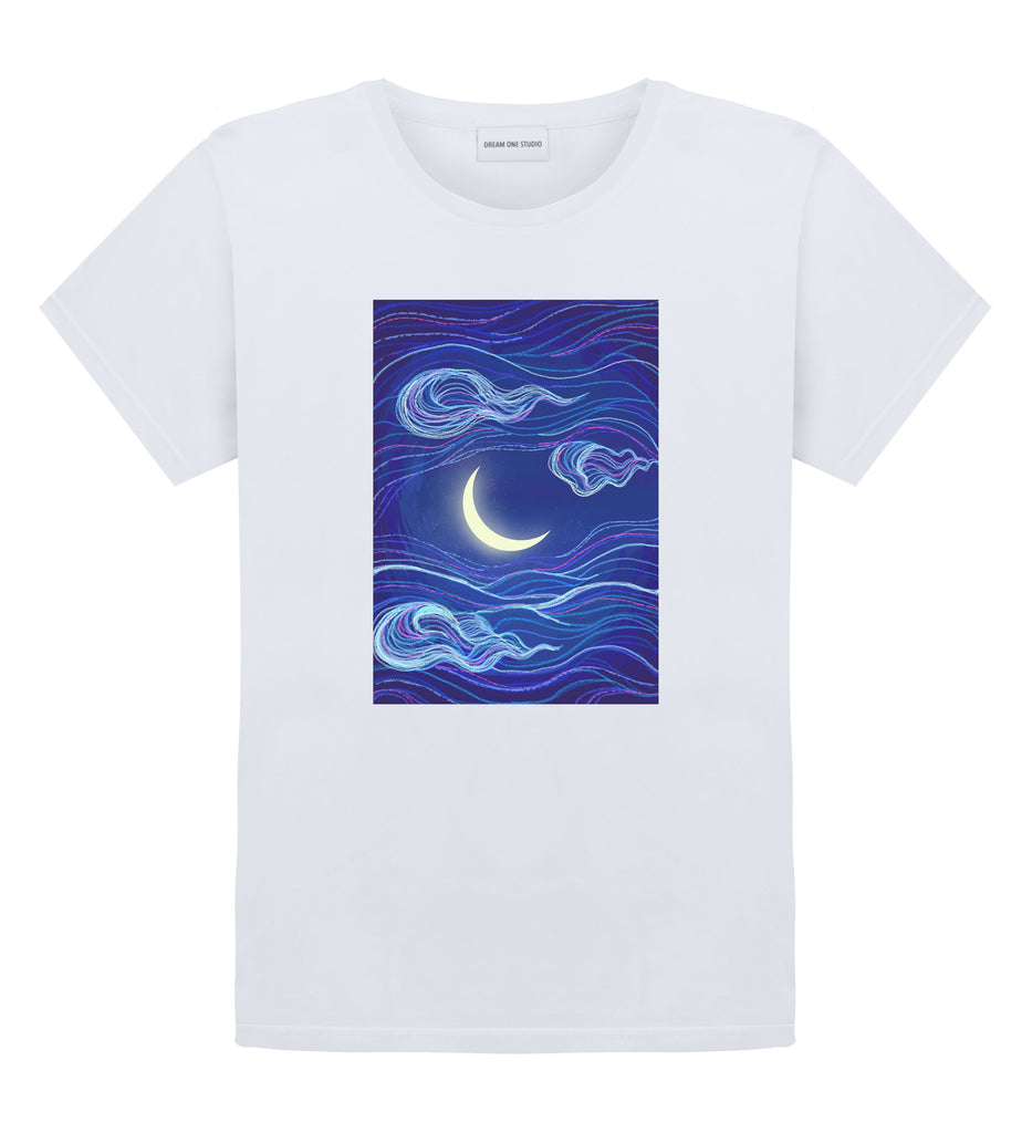 T-Shirt Unisex 100% coton  Col rond, coupe droite  Lavable à 30° dream one studio moon river brand streetwear