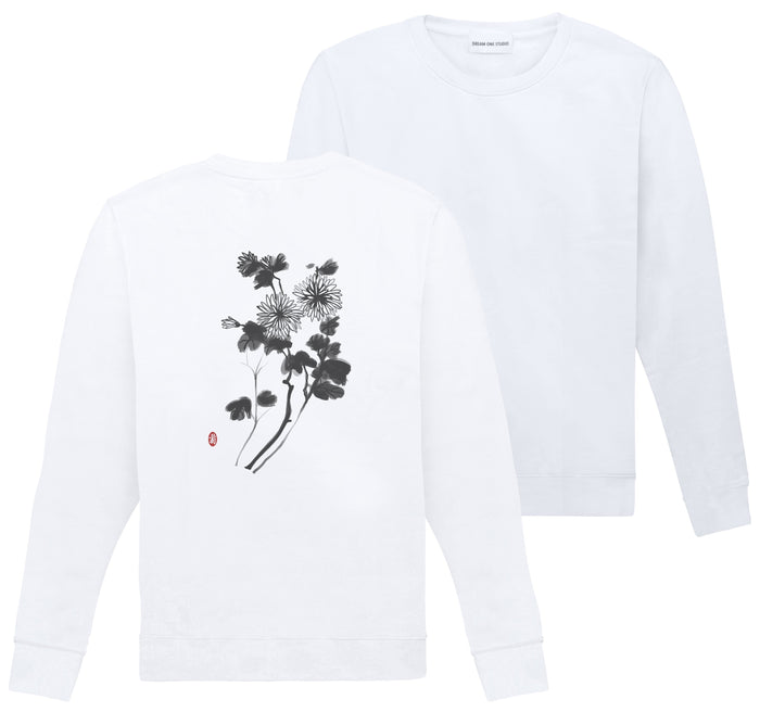 Sweat Unisex Blanc 100% Coton organique - Chrysanthemum