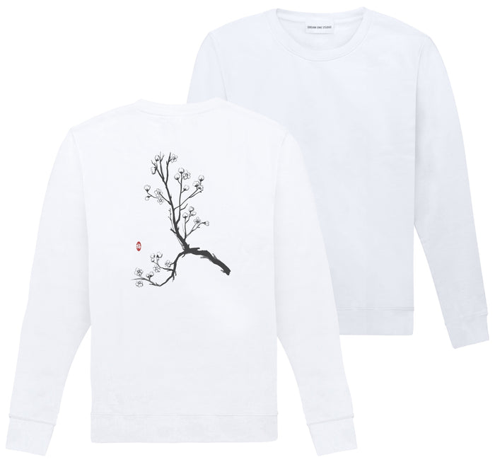 Sweat Unisex Blanc 100% Coton organique - Plum Blossom