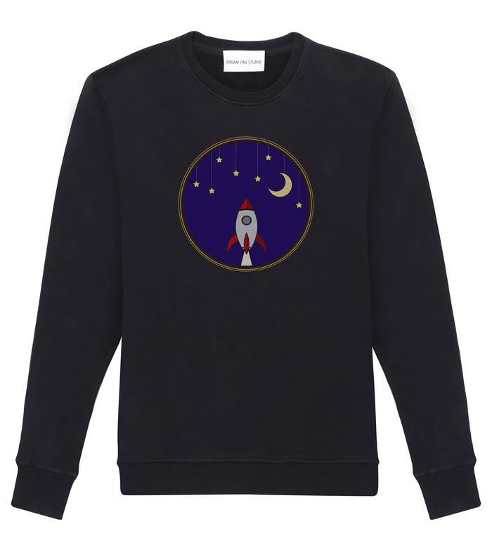 Sweat Unisex Noir 100% Coton organique - Rocket At Night