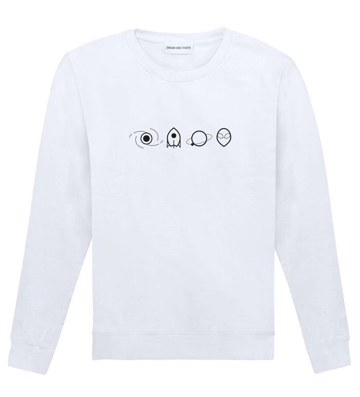 Sweat Unisex Blanc 100% Coton organique - Space Elements