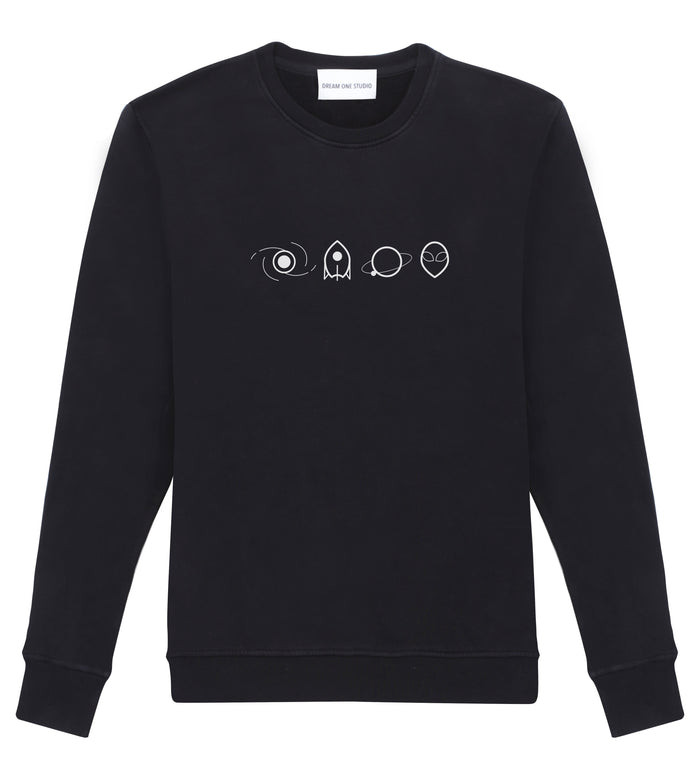 Sweat Unisex Noir 100% Coton organique - Space Elements