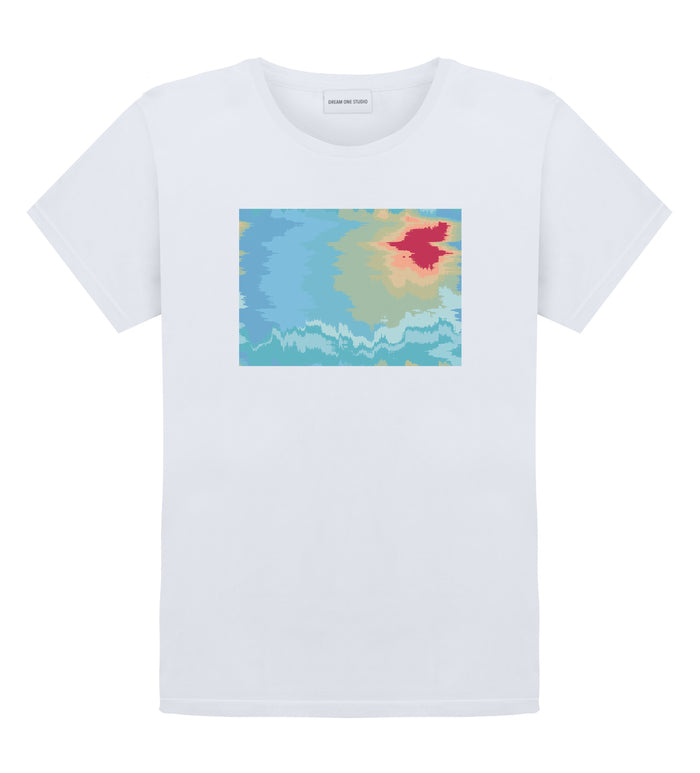 T-Shirt Unisex Blanc 100% Coton organique - River Sunrise