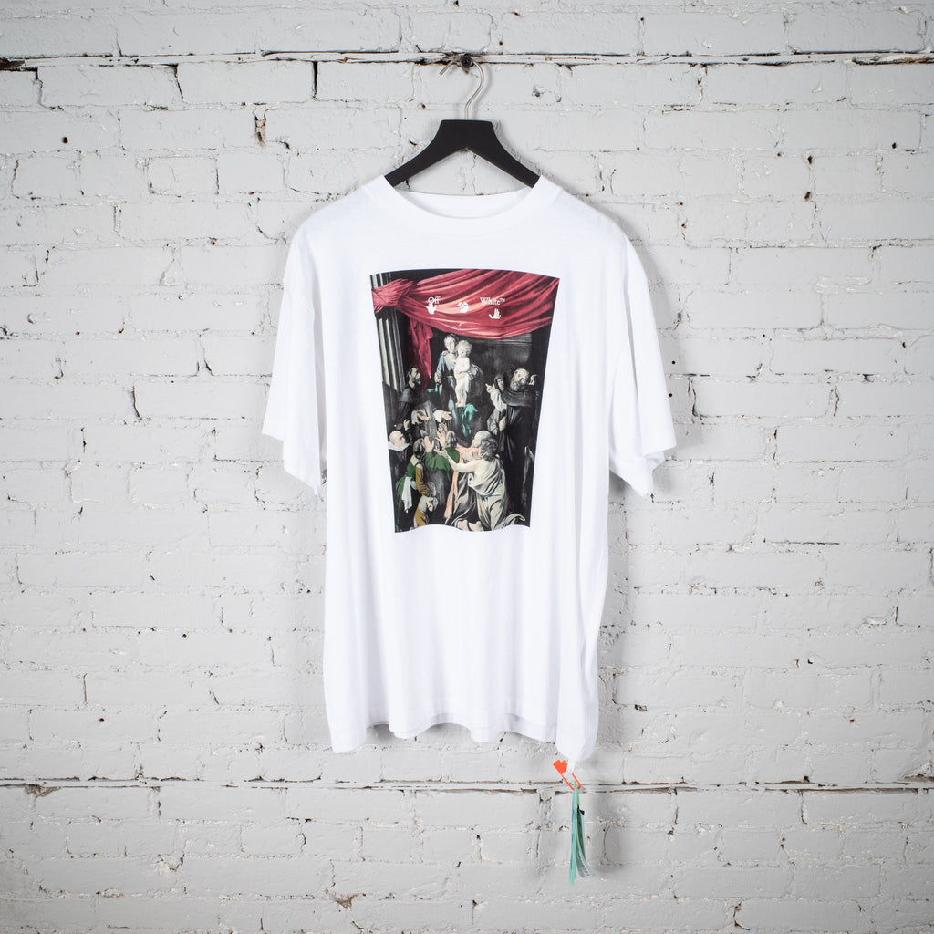 CARAVAGGIO PAINTING SS T SHIRT OVER WHITE