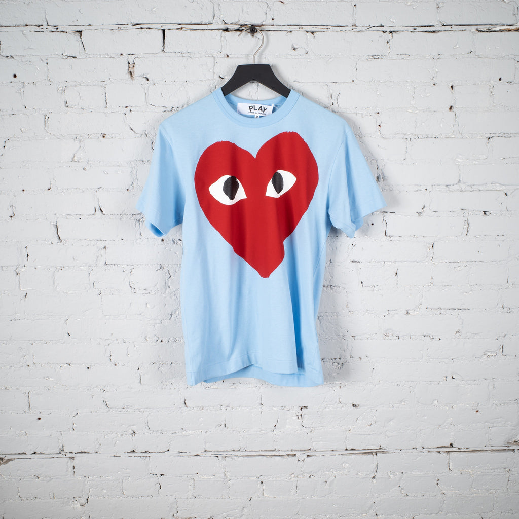 CDG PLAY SS T SHIRT BLUE - AZT274