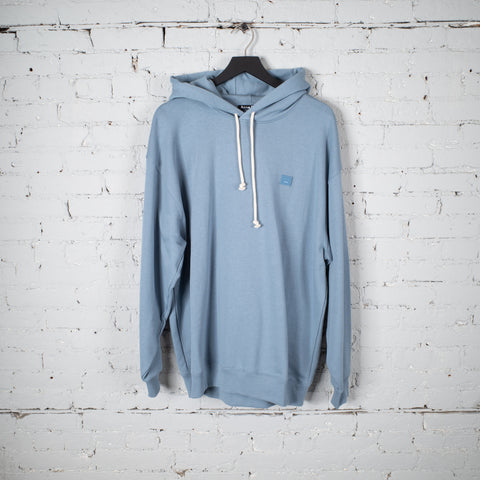ACNE STUDIOS FACE HOODED SWEATSHIRT MINERAL BLUE - FA-UX-SWEA000009