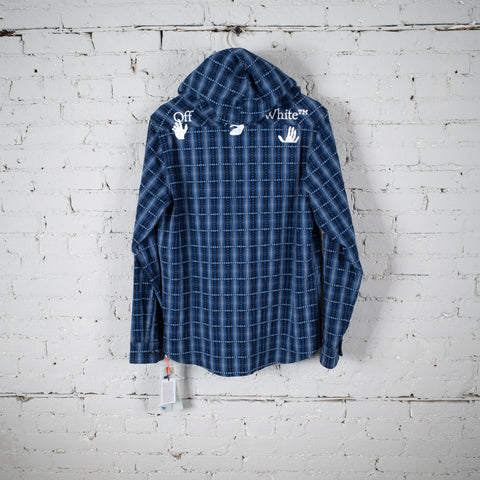 FLANNEL HOODED JACKET BLUE
