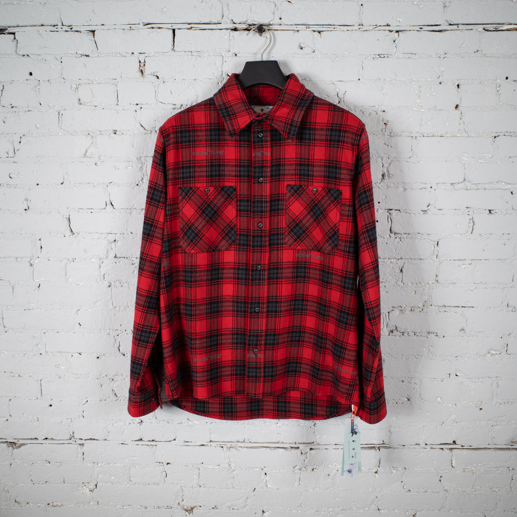 CHECK FLANNEL STENCIL RED