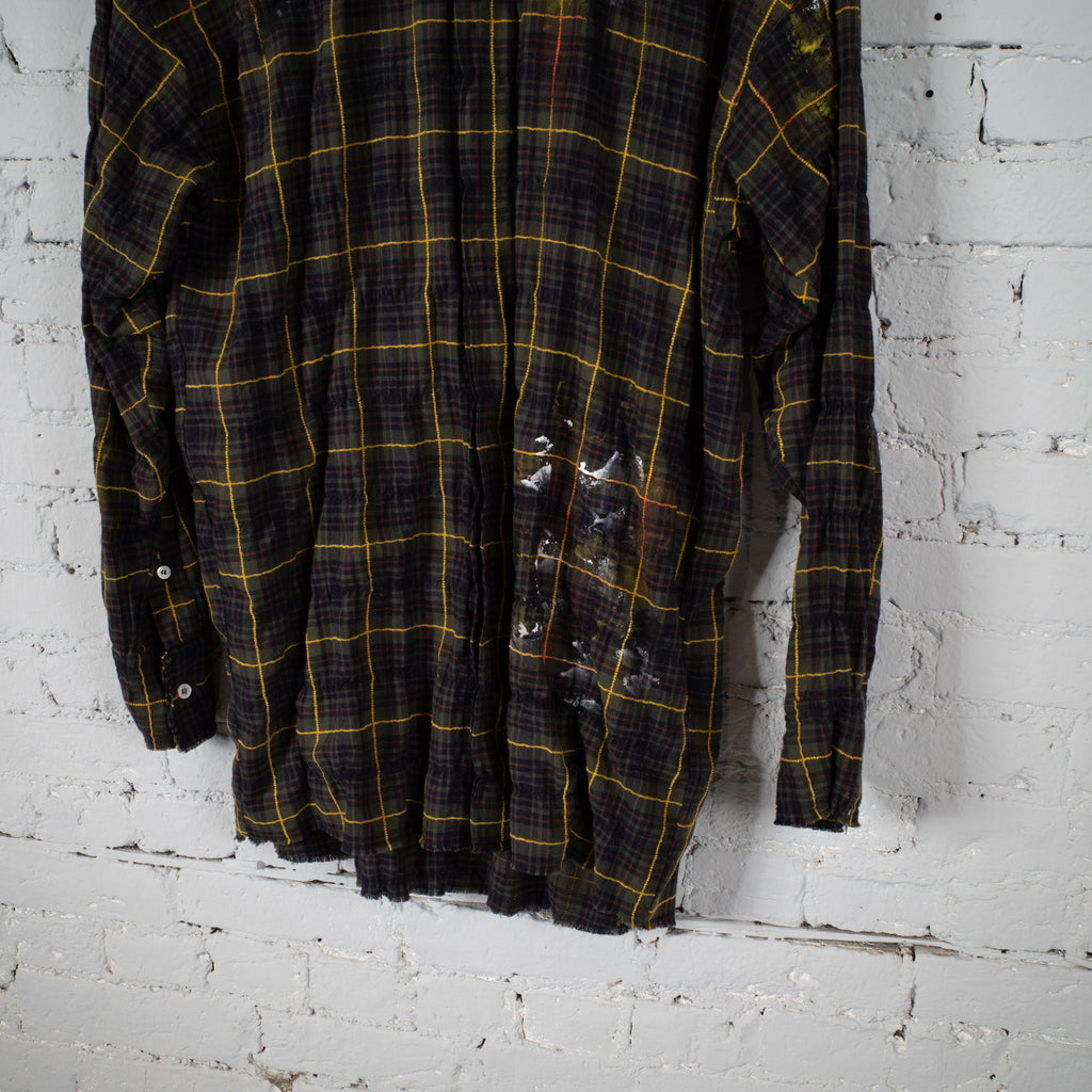 ROUND LOGO PLAID SHIRT GREEN