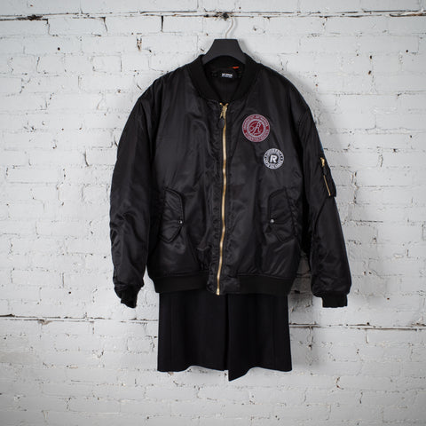 NYLON PATCHED BOMBER WITH WOOL ELONGATION BLACK