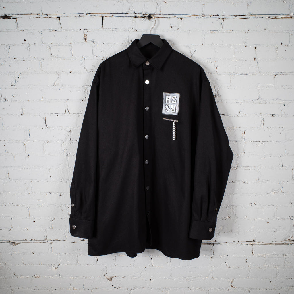 BIG FIT DENIM SHIRT ZIP POCKET BLACK