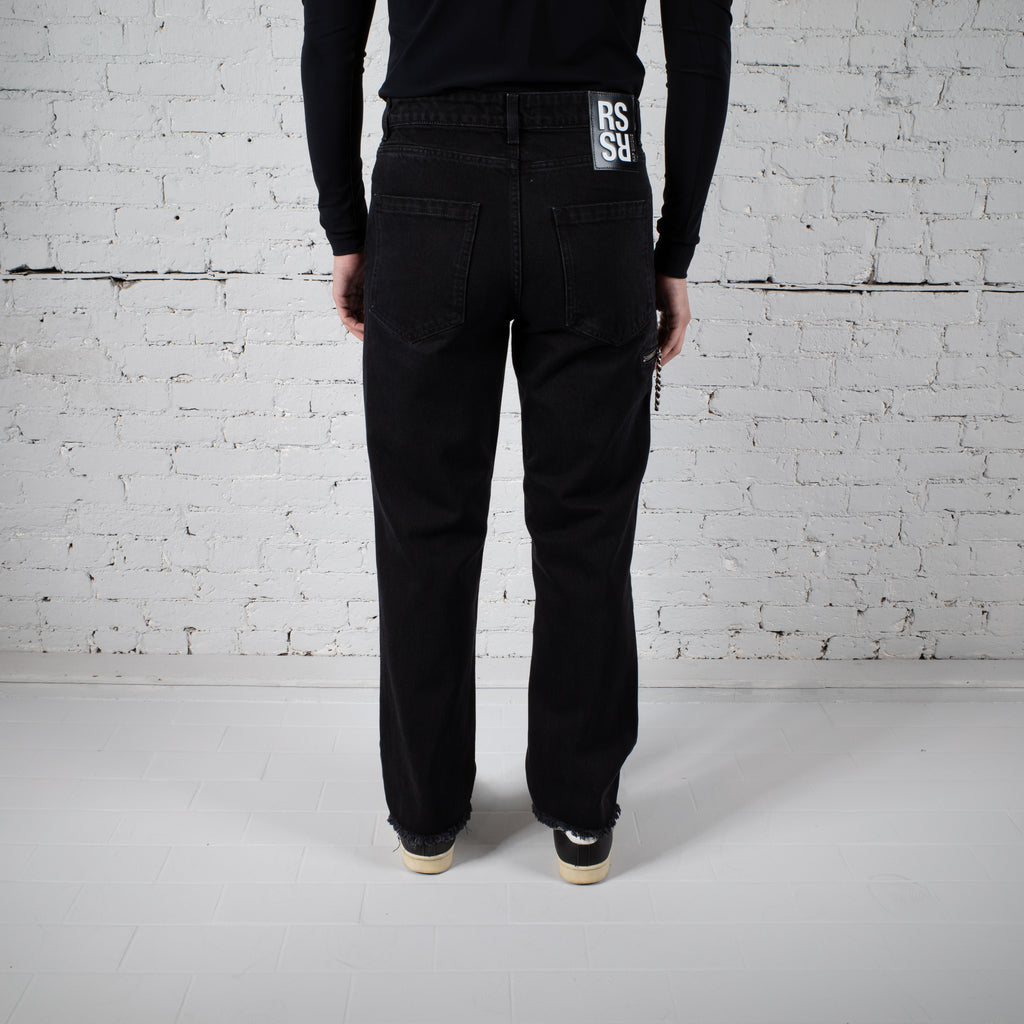 CROPPED DENIM PANTS WITH ZIPPER BLACK