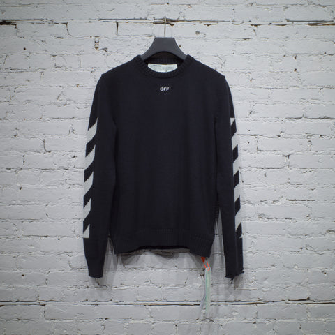 DIAGONAL CREWNECK SWEATER BLACK