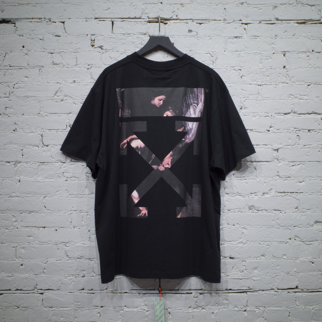 OFF-WHITE SS T SHIRT OVER CARAVAGGIO BLACK - OMAA038