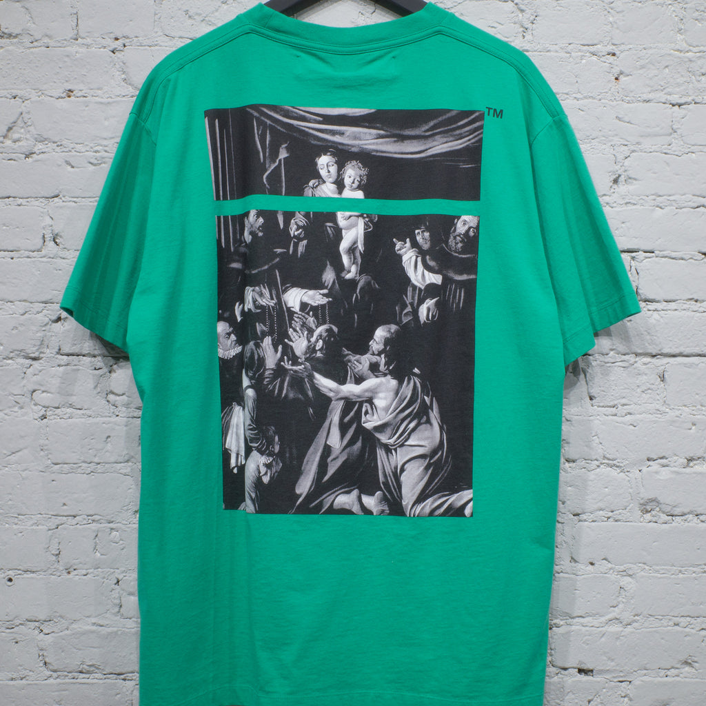 OFF-WHITE SS T SHIRT OVER CARAVAGGIO SQUARE GREEN - OMAA038