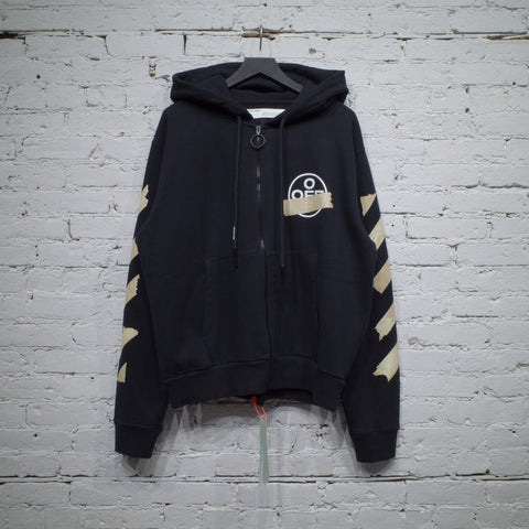 ZIP HOODED SWEATSHIRT TAPE ARROWS BLACK