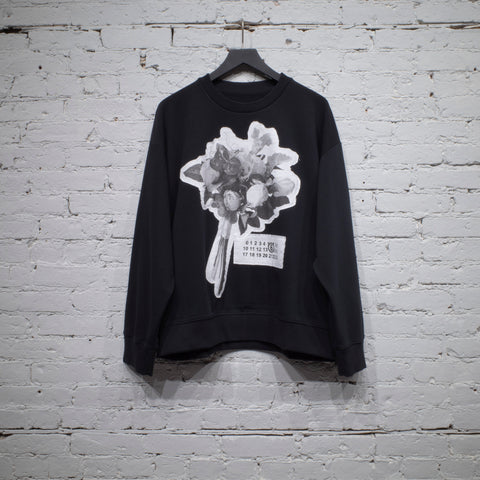CREW SWEATSHIRT BLACK FLOWERS