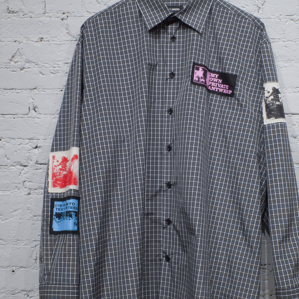 OVERSIZED SHIRT PATCHES BLACK CHECK