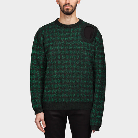 Jacquard Knit Sweater Dark Green