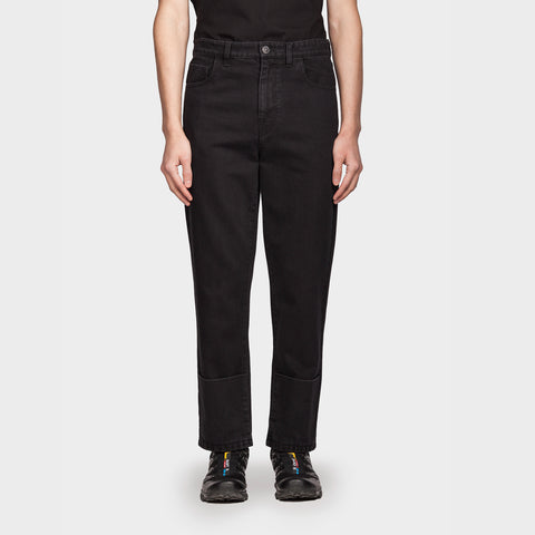 Turn-up Denim Pants Black