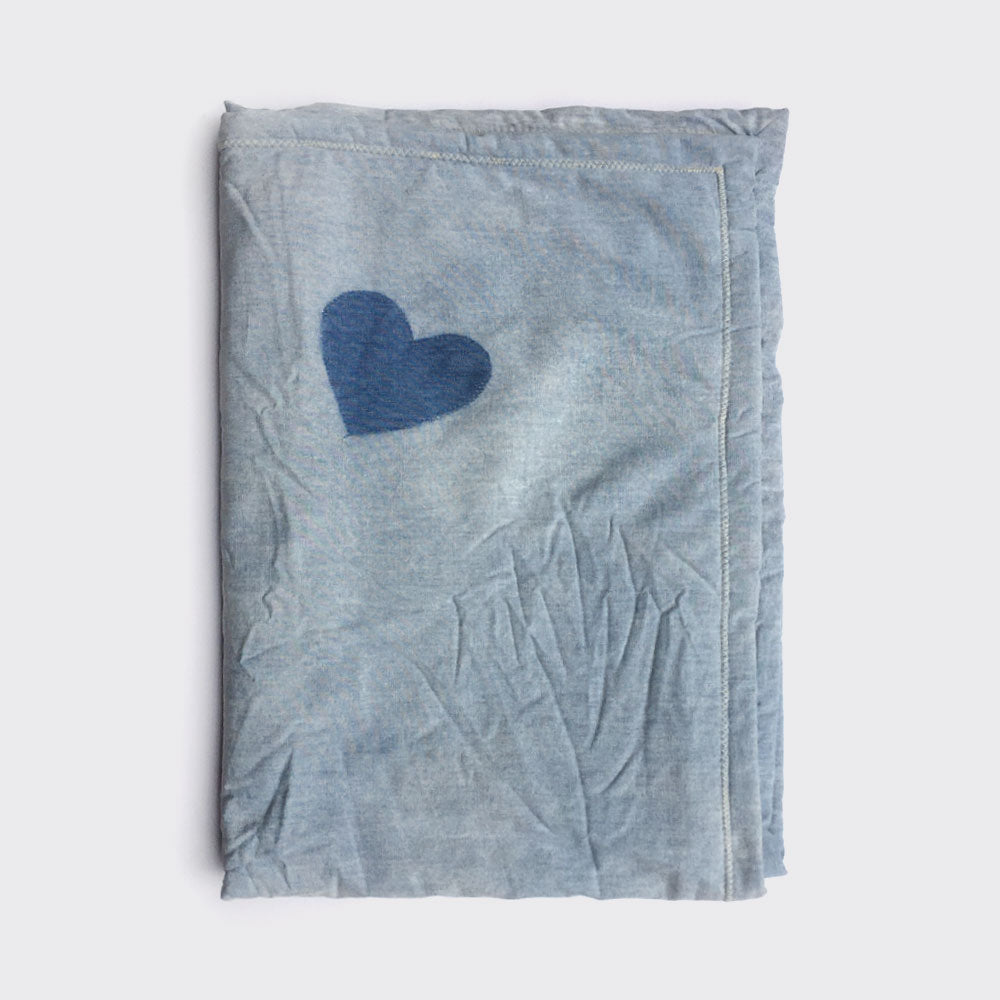 Denim heart fuzz blanket