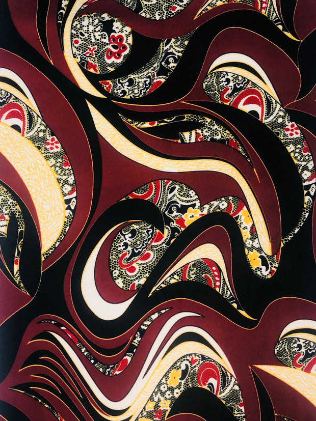 Techno Knit Paisley Print Fabric - wholesale fabric