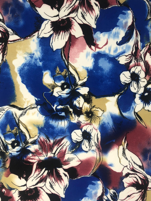 Techno Knit Floral Print Fabric - wholesale fabric