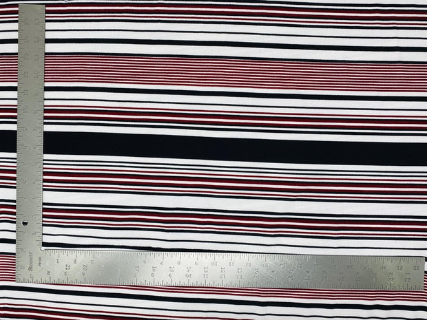 Liverpool Knit Horizontal Multicolor Stripe Print Fabric - Express Knit Inc.