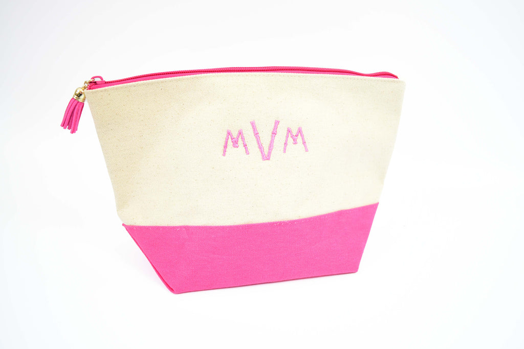 embroidered monogram makeup bag - cotton canvas toiletry pouch