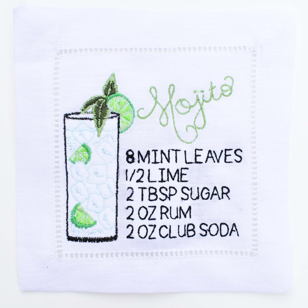 mojito recipe cocktail napkin - grandmillenial bar cart