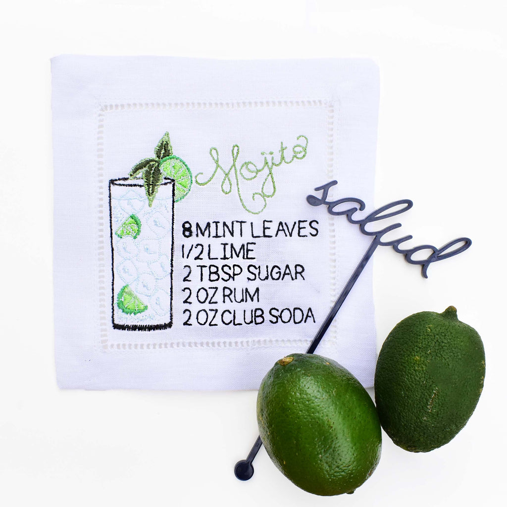mojito embroidered cocktail napkin