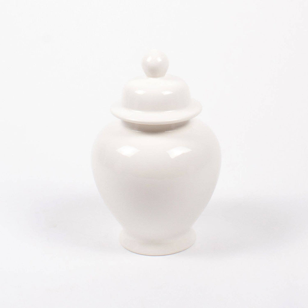 large white chinoiserie ginger jar