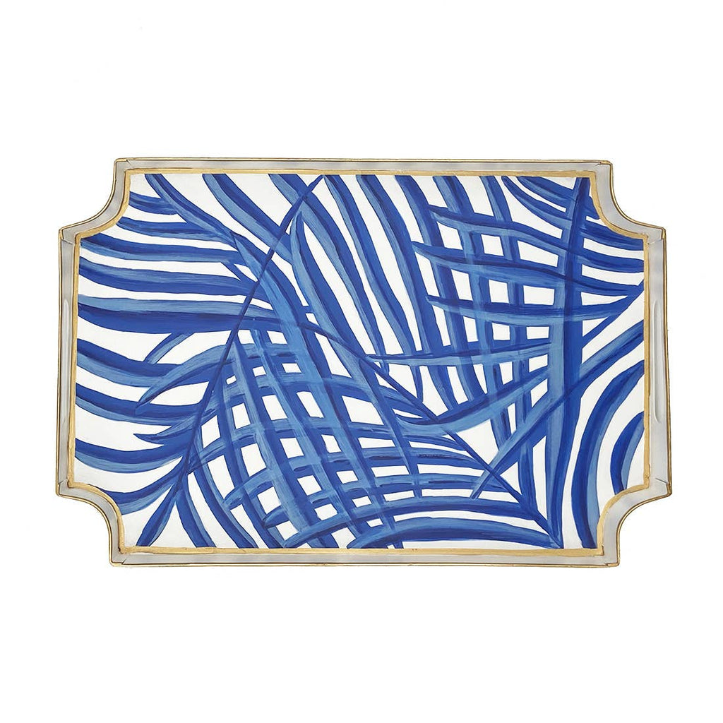 blue and white tray - palm leaf chinoiserie serving tray