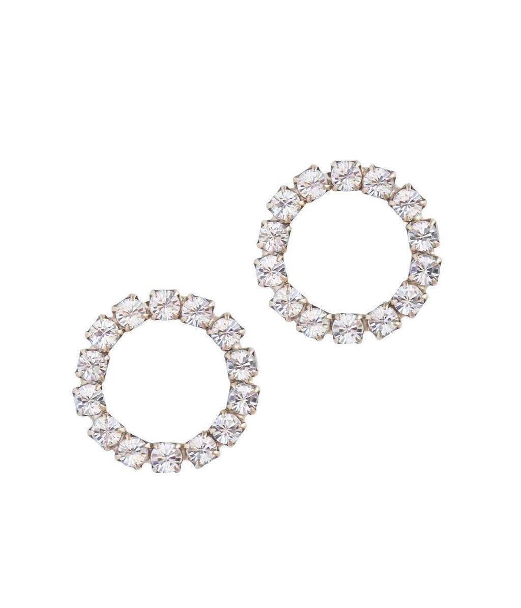 forward facing hoop earrings - crystal circle statement earring