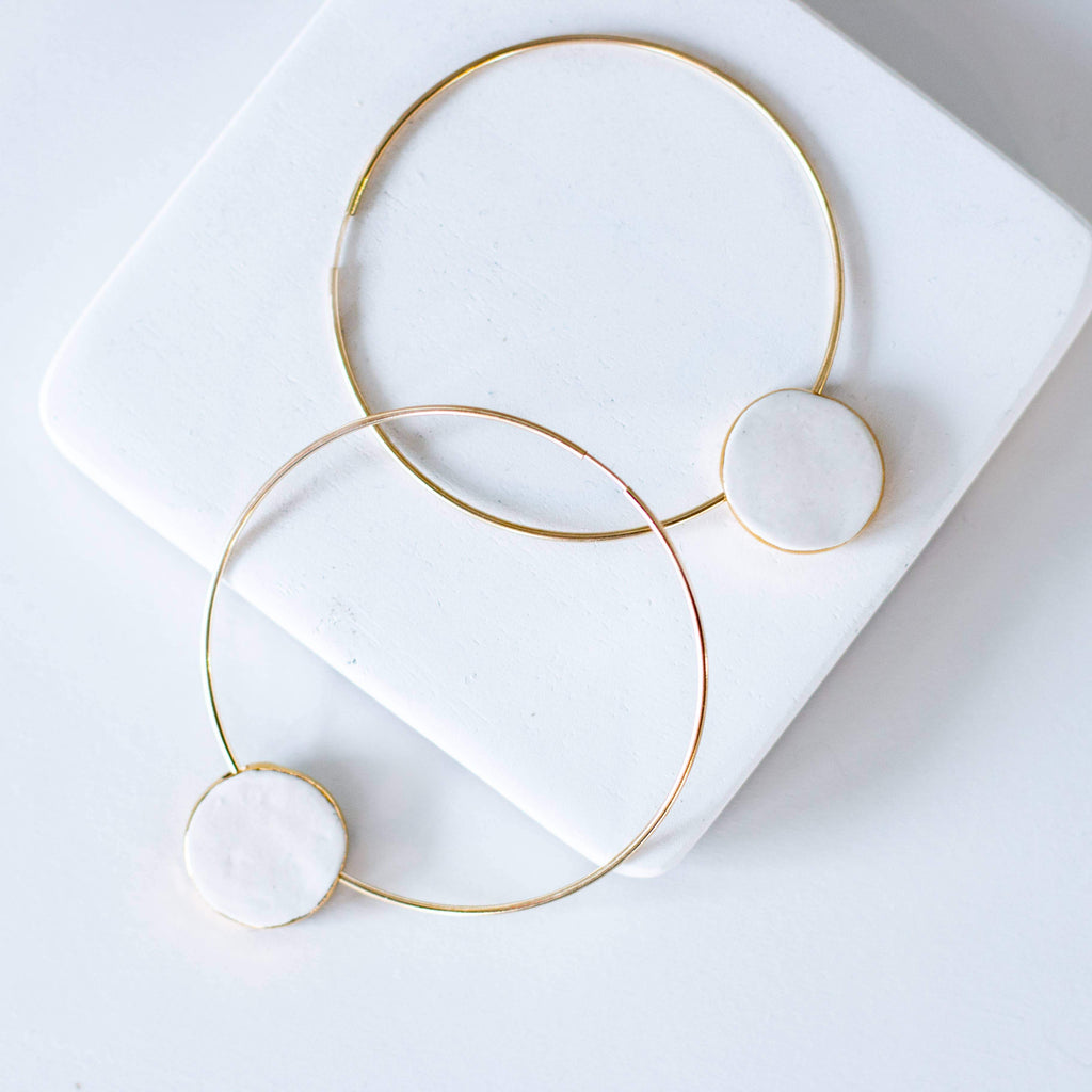 gold hoop earrings - dangle hoops