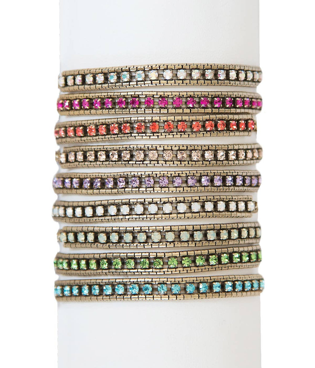 colorful stack bracelet - crystal costume jewelry