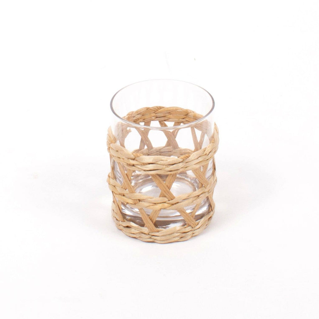 rattan old fashioned glass