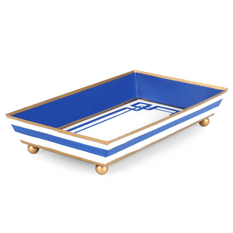 metal catchall tray - greek key blue and white - jayes studio