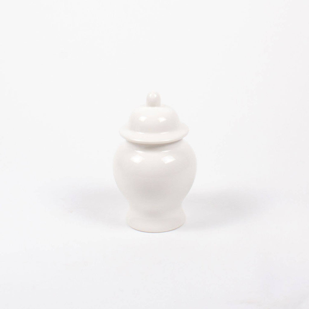 small white ceramic lidded ginger jar