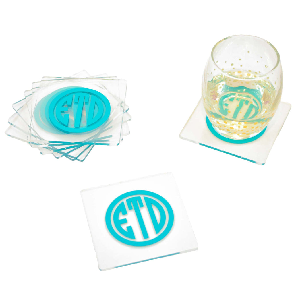 acrylic personalized coasters - monogram bar cart accessory